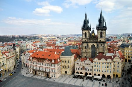 old town square: Prague, Old Town Square Stock Photo
