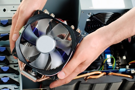 Accembling computer Stock Photo