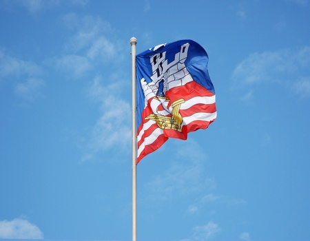 Serbian flag in the sky Stock Photo