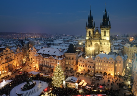 prague: Old town square in Prague at Christmass time. Night. Stock Photo