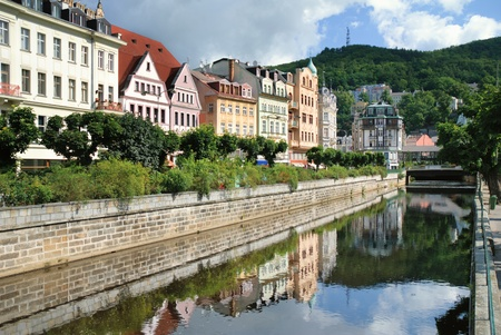karlovy: City center in Karlovy Vary. Czech Republic Stock Photo
