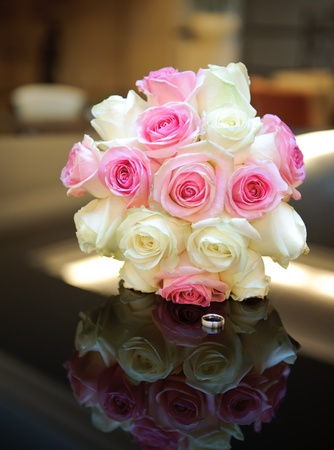 marriageable: Wedding bunch. Shallow deep field. Focus on a flowers Stock Photo