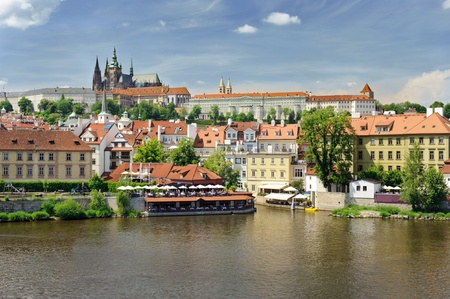prague castle: the prague castle and vltava river Stock Photo