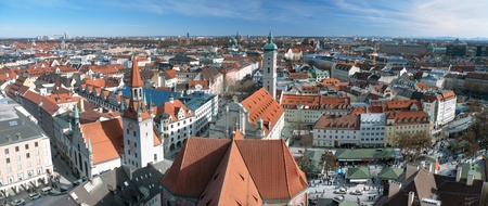 panoramic roof: View over the city of Munich from the tower of Saint Peter