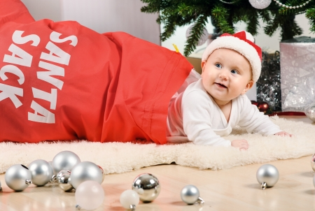 Christmas little baby girl photo