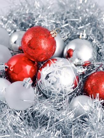 trees photography: Christmas decoration  Focus on ball Stock Photo