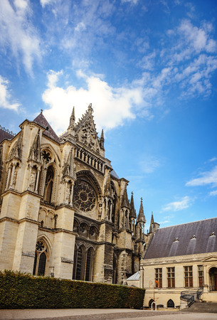 champagne region: Gothic cathedral at Reims in the Champagne region in France.  Stock Photo