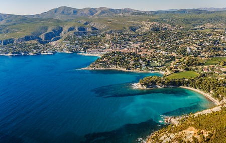 france: Coastline near Cassis and Marseille in France Stock Photo