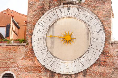 san giacomo: Old clock of the Church of San Giacomo di Rialto in San Polo district. Venice Stock Photo