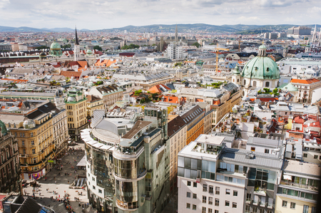 View of Vienna city from the roof, Austria Standard-Bild