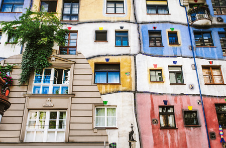 stone wall: The view of Hundertwasser house in Vienna, Austria Editorial