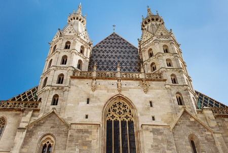romanesque: St. Stephens Cathedral, Vienna, the view of two Romanesque Towers Stock Photo