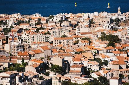 alexandre duma: Panorama of houses in Marseille, Provence, France Stock Photo