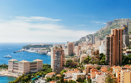 Monte Carlo top View with blue sky and sea