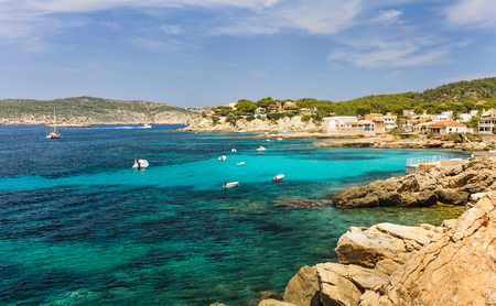 majorca: Coast sea view beach Sant Elm and view on Dragonera. Majorca island, Spain Stock Photo