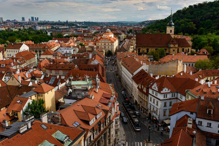 Red roofs and city view in Prague. Czech Republic