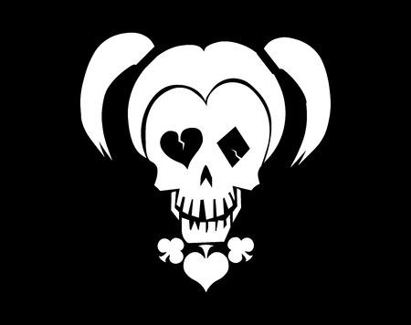 Black and white skull vector illustration. Illustration
