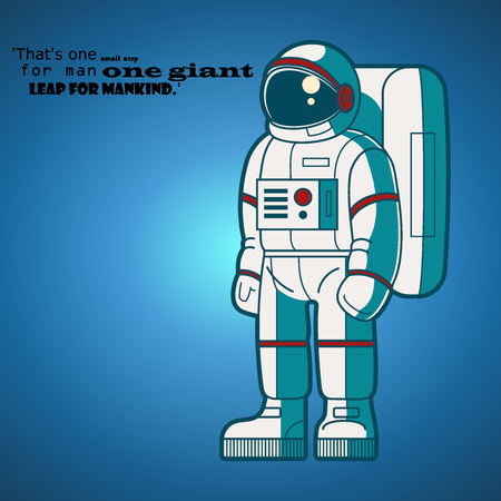Astronaut and deep words vector illustration