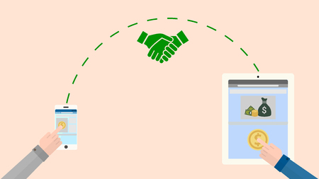 Business transaction, online payment.