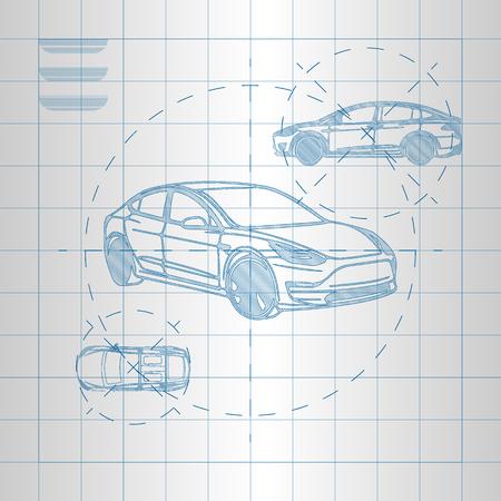 Modern car on blueprint vector illustration.