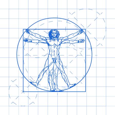 Vitruvian man vector illustration. Ilustração