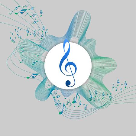 Resumen de notas de música de diseño para el uso de fondo de música, las ondas de música, con sol clave en el centro de un círculo blanco, ilustración vectorial. Centro se puede utilizar como un lugar de logotipo. Foto de archivo - 84970287