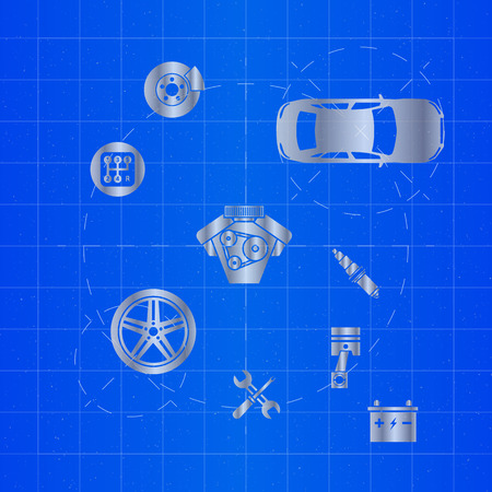 Car parts icons on blueprint royalty free cliparts vectors and car parts icons on blueprint stock vector 84919851 malvernweather Gallery