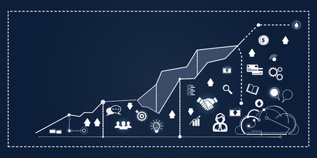 Financial Graph, Finance Business Icon Concept Chart, Analysis Flat Vector Illustration. Illustration