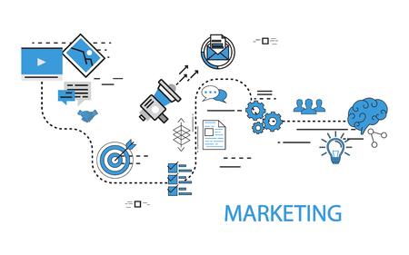 Ilustración de concepto creativo de vector de marketing Ilustración de vector