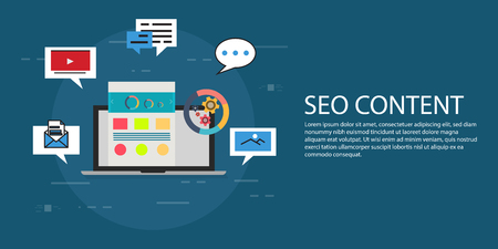 web browser: Seo content vector creative concept illustration