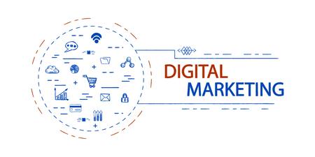 Digital marketing creative vector concept