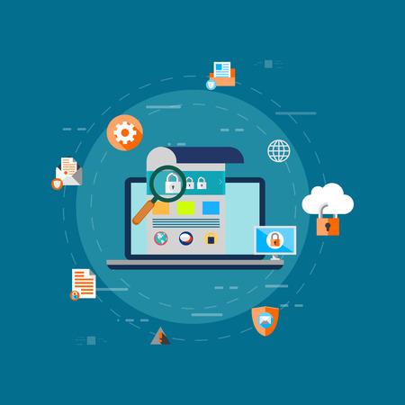 데이터 보호, 개인 정보 보호 및 인터넷 보안 플랫 벡터 개념 스톡 콘텐츠 - 85018490
