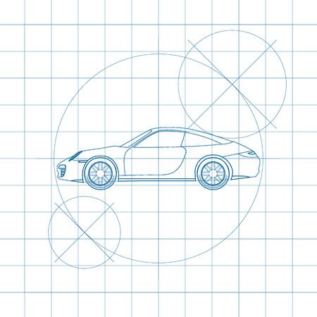 Modern car on blueprint