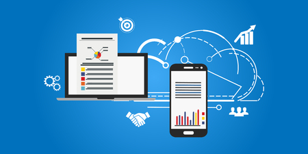 Market analysis, web data analytics software, data research flat vector concept with icons Illustration