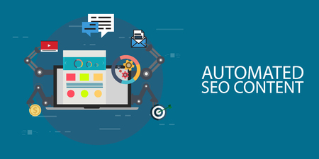 Automated seo content creative concept vector illustration