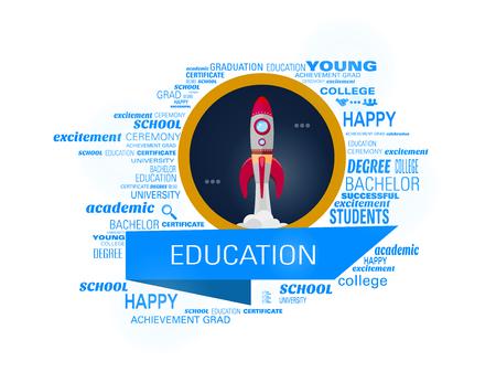 Education, rocket creative concept vector illustration