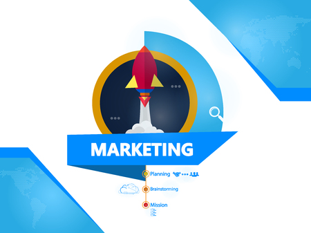 Marketing, rocket creative concept vector illustration Ilustrace