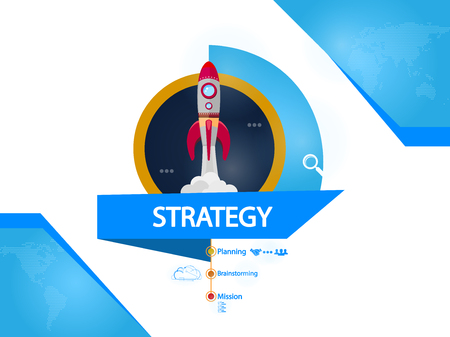 Strategy, rocket creative concept vector illustration