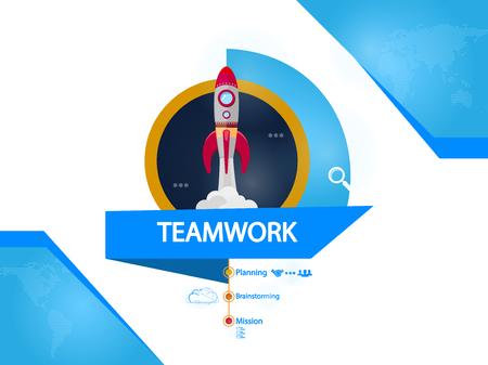 Teamwork, rocket creative concept vector illustration