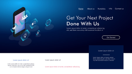 Website template design. Vector illustration concepts for website and mobile website design and development, business apps, marketing, social media apps, time and project management.