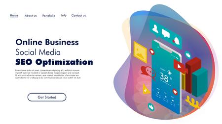 Digital Marketing, Social Media, SEO Optimization creative web template vector illustration Ilustrace