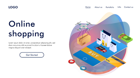 Landing page template of Online Shopping. Modern isometric design concept of web page design for website and mobile website. Easy to edit and customize. Vector illustration
