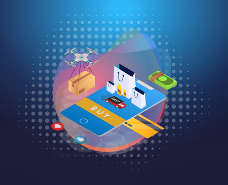 Online Shopping. Modern isometric design concept. Easy to edit and customize. Vector illustration