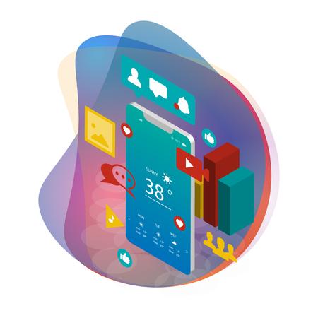 Digital Marketing, Social Media, SEO Optimization creative vector illustration
