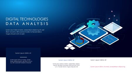 Modern design isometric concept of Data Analysis Vectores
