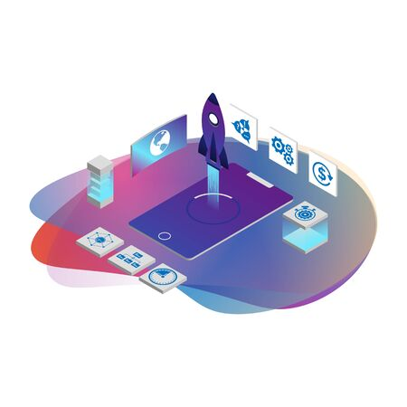 3D illustration of rocket with infographic elements and ultraviolet rays for Business Startup concept