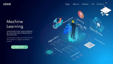 Machine learning, Ai, Data mining, algorithm, algorithm, neural network, deep learning and autonomous. isometric vector concept. Vettoriali