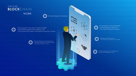 How does a blockchain work: Isometric design, businessman, cryptocurrency and secure transactions infographic, uses and benefits