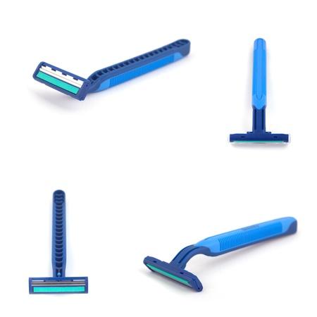 Blue razor isolate on white background.  Stock Photo - 9023109