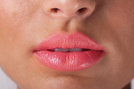 Sexy woman lips with pink make up. Stock Photo - 9556735